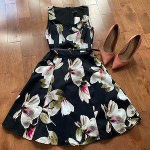 Le chateau black & floral skater knee length dress